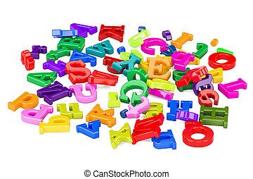 Pile of color letters, 3D rendering