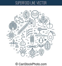 Superfood line icons, round composition. Pomegranate,...
