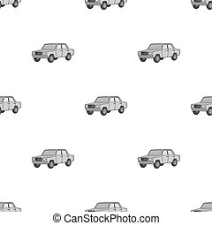 Old car.Car single icon in monochrome style vector symbol...