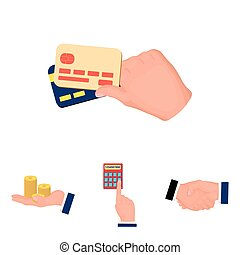 Calculator, handshake and other web icon in cartoon style.a...
