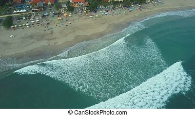 Aerial view on the beach. Bali. Ocean - Aerial view on the...