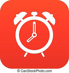 Alarm clock icon digital red