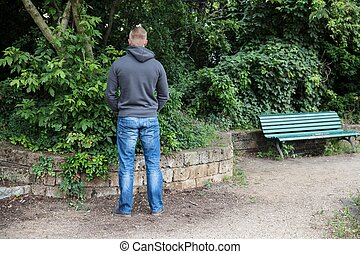 Man Peeing In Park - Rear View Of A Man Peeing In Park
