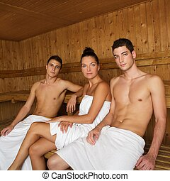 Sauna spa therapy young beautiful people group - Sauna spa...