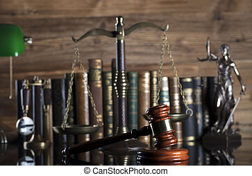 Law theme – court library. - Gavel of the jugde, scale of...