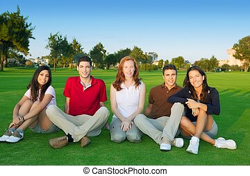 friends group people happy sitting green grass outdoor
