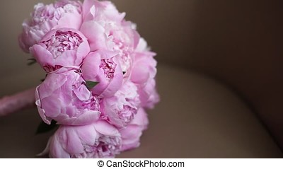Wedding bouquet of fresh pink peonies - Wedding bouquet of...