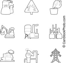 Heavy industry icons set, outline style