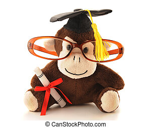 Monkey Grad - An adorable monkey with graduation cap and...