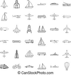 Transport icons set, outline style - Transport icons set....
