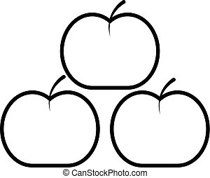 Apples icon , outline style - Apples icon. Outline...