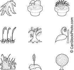 Outdoor plants icons set, outline style