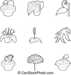 Spring plants icons set, outline style