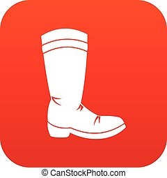 Cowboy boot icon digital red for any design isolated on...