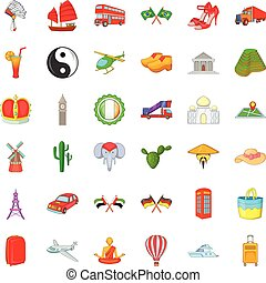 London icons set, cartoon style
