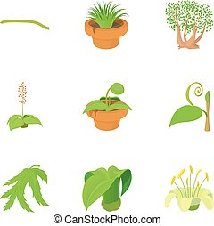 Different plants icons set, cartoon style