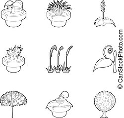 Different plants icons set, outline style