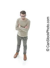 portrait of a serious young man. Photo in full length - view...