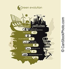 environment and air pollution and land infographic -...