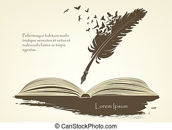 feather with flying birds and open book