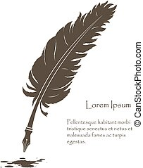 old feather with flying ink stain - writing old feather with...