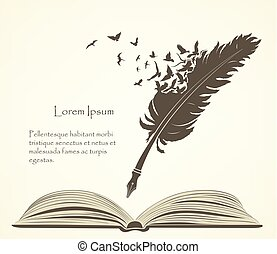 old feather with flying birds and open book