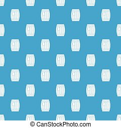 Wooden barrel with ladle pattern seamless blue