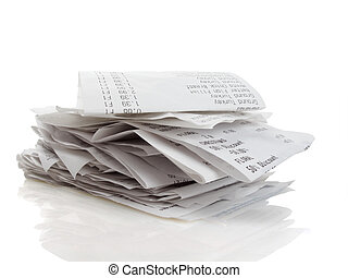 Receipts - Stack of receipts piled high on white background...