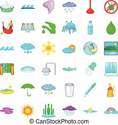 Water supply icons set, cartoon style - Water supply icons...