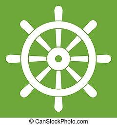 Wooden ship wheel icon green