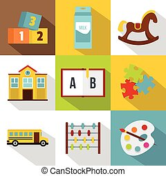 School and education icon set, flat style
