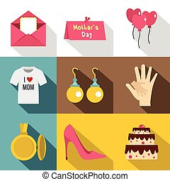 Happy mothers day icon set, flat style
