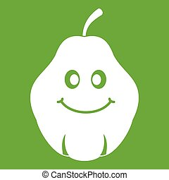 Smiling quince fruit icon green - Smiling quince fruit icon...