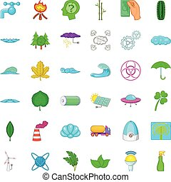 Water energy icons set, cartoon style