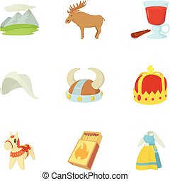 Rural life icons set, cartoon style