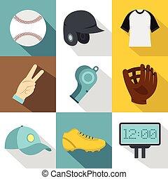 Baseball championship icon set, flat style - Baseball...