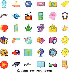Processing icons set, cartoon style - Processing icons set....