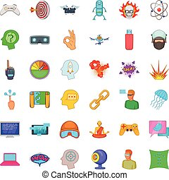 Virtual icons set, cartoon style - Virtual icons set....