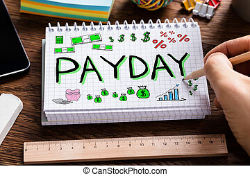 Payday Employee Income - Man Drawing Payday Word In Notebook...