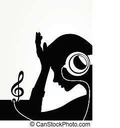 The girl listens to music through ear-phones A vector...