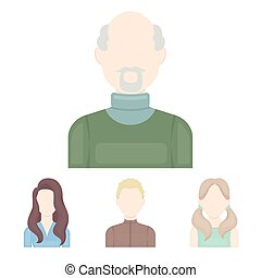 Boy blond, bald man, girl with tails, woman.Avatar set collection icons in cartoon style vector symbol stock illustration web.
