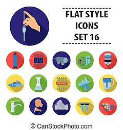 Water filtration system set icons in flat style. Big collection of water filtration system vector symbol stock illustration