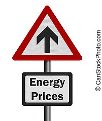 Photo realistic 'energy price rise' sign, isolated on white
