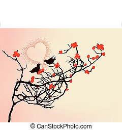Enamoured birds on a branch. A vector illustration