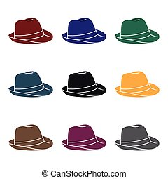 Panama hat icon in black style isolated on white background....