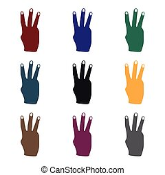 Three fingers icon in black style isolated on white background. Hand gestures symbol stock vector illustration.