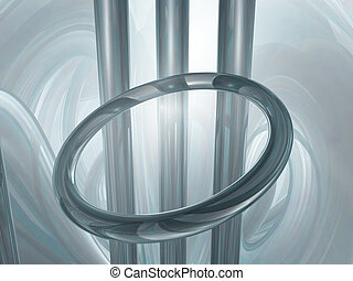 installation - metal ring and bars - 3d illustration
