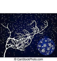 On a snow-covered branch the Christmas ornament hangs. A vector illustration