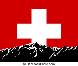 Mountains with flag of Switzerland