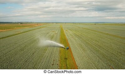 Irrigation system on agricultural land. - Aerial view:...